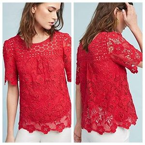 Anthropologie Vanessa Virginia Floral Crochet Top